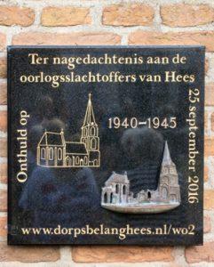 Plaquette voor de oorlogsslachtoffers van Hees. Door Jef Van Kuyk